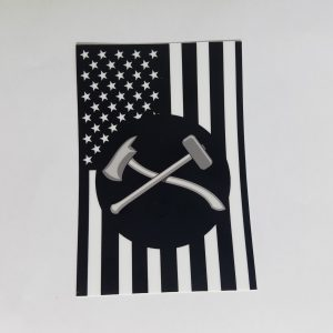 Damage Controlman Axe and Maul on Black and White American flag sticker