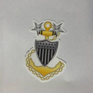 "Master Chief Anchor E9 4"" Sticker with Racing Stripe USCG Coast Guard Coastie Sticker Salty For You"