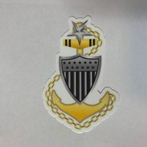 e8 senior chief anchor and shield uscg sticker with Racing Stripe USCG Coast Guard Coastie Sticker Salty For You