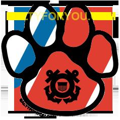 coastie dog USCG with Racing Stripe USCG Coast Guard Coastie Sticker Salty For You