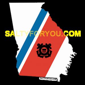 "uscg coast guard Georgia outline with Blue and Orange racing stripe 4"" Sticker"
