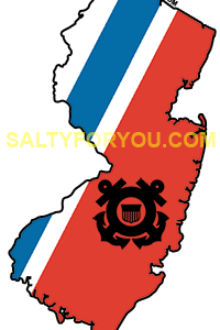 New Jersey NJ USCG with Racing Stripe USCG Coast Guard Coastie Sticker Salty For You