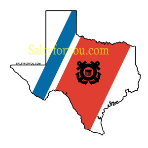 """Texas State outline with Blue and Orange racing stripe 4"""" Sticker uscg coast guard"""