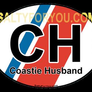 Coast Guard Husband sticker 4x3 oval USCG with Racing Stripe USCG Coast Guard Coastie Sticker