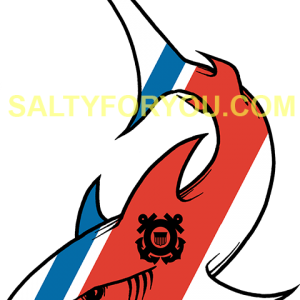 Shark USCG with Racing Stripe USCG Coast Guard Coastie Sticker Salty For You