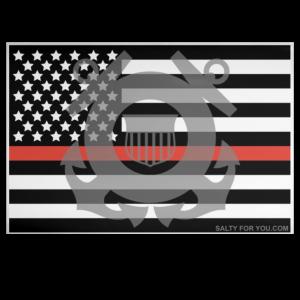 Coast Guard American Flag Orange Strip Flag Sticker USCG