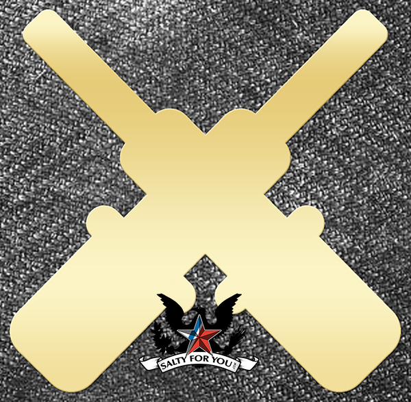 Solid Brass Gunners Mate Crossed Cannons uscg coast guard navy - brushed finish